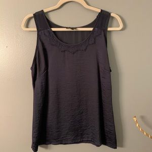 The Limited blue tank top with lace neckline